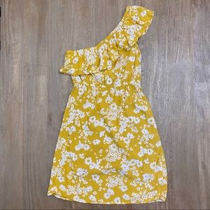 Old Navy Yellow Floral Ruffled One Shoulder Dress